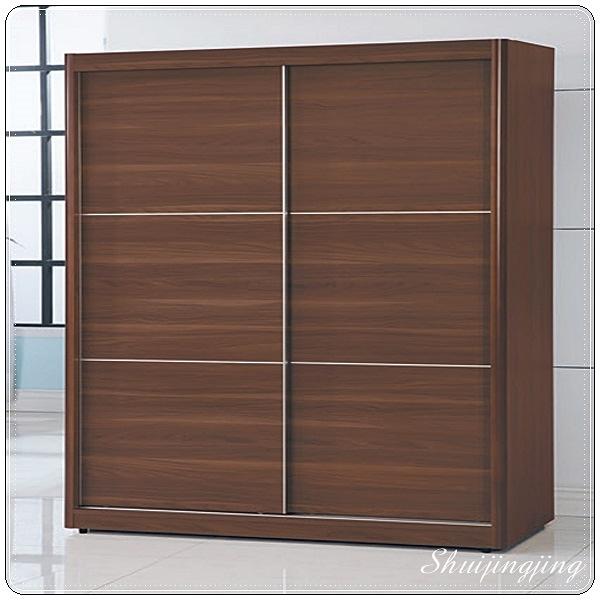 【水晶晶家具/傢俱首選】CX1160-4北歐7×7尺胡桃色木心板推門衣櫥