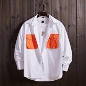 chic國潮復古潮流白色襯衣牛仔長袖襯衫BF風潮男女寬鬆休閒外套