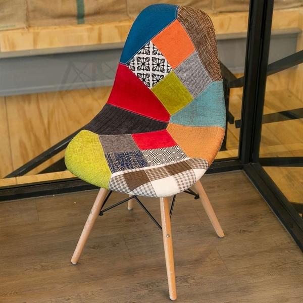 【IDEA】田野鄉村風拼布休閒椅 吧檯椅 酒吧椅 布椅 餐廳椅 餐椅 高腳椅 高腳凳【RA-004】