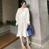 氣質燈籠袖A字收腰裙子寬鬆中長款V領襯衫洋裝女裝 交換禮物
