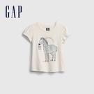 Gap女幼童 布萊納系列 童趣印花泡泡袖T恤 677877-象牙白