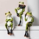 創意樹脂青蛙擺件北歐書架卡通小動物兒童擺設客廳家居可愛裝飾品 元旦狂歡購
