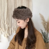 髮帶 高級栗子棕色毛絨絨髮帶毛皮草髮帶帽女空頂保暖寬邊兔毛髮帶