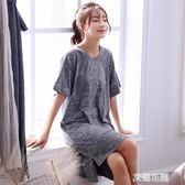 純棉睡裙女夏季薄款寬鬆大碼可愛學生全棉韓版睡衣家居服中長款『艾麗花園』
