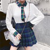 VK精品服飾 韓系修身蝴蝶結百褶裙套裝長袖裙裝