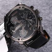 Oulm歐鐳新品手錶男雙機時尚手錶日韓系男士大盤手錶個性潮表3548 卡布奇诺