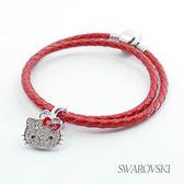 【SWAROVSKI】Hello Kitty施華洛世奇水晶串珠手環-墜飾 (雙圈)