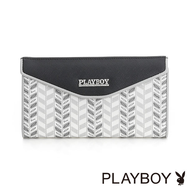 PLAYBOY- 翻蓋長夾 Wheat Rabbit 兔耳麥穗系列-麥穗灰