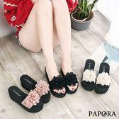 PAPORA大雕花厚底拖鞋K88668黑/米/粉(偏小)