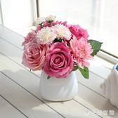 仿真玫瑰花束套裝韓式新娘捧花森系臥室辦公桌裝飾擺件假花絹 QG3412『樂愛居家館』