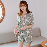 睡衣女夏短袖韓版棉質休閒可愛卡通寬鬆學生套裝 LR234【歐爸生活館】