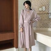 秋季新款復古氣質溫柔木耳邊領針織連衣裙收腰綁帶寬松中長款裙子