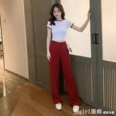套裝 休閒時尚女套裝闊腿褲兩件套洋氣減齡短袖t恤女短款高腰修身上衣 618購物節