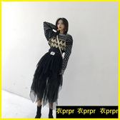 半身長裙-網紗半身裙韓版寬鬆黑色高腰中長款蛋糕裙 衣普菈