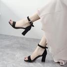 高跟鞋一字扣帶涼鞋女粗跟夏季新款中跟羅馬百搭黑色仙女風高跟女鞋