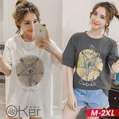 五角星魔法陣圖案印花長版短袖T恤 M-2XL O-ker歐珂兒 163324