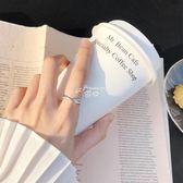 情侶戒指 水晶食指戒指女日韓潮人學生銀戒指 冷淡風戒指純銀 俏腳丫