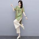 棉麻套裝2021年新款女夏季休閒時尚大碼媽媽春秋苧麻亞麻褲兩件套 設計師