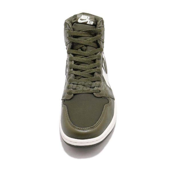 Nike Air Jordan 1 Retro High OG GS Big Logo 綠軍綠白皮革喬丹1代男鞋 ... dec67bca41b5