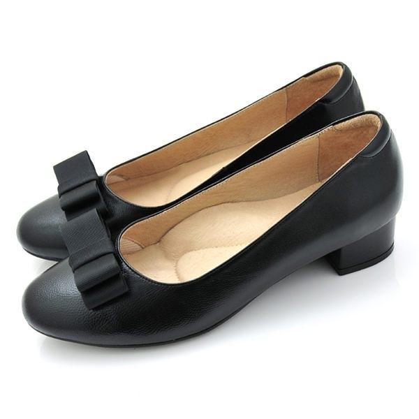 全真皮緞帶蝴蝶結低跟包鞋-黑色‧karine(MIT台灣製)