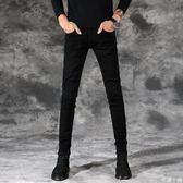 加絨男士黑色牛仔褲男修身小腳褲秋季休閒彈力韓版潮流緊身褲子男   米娜小鋪