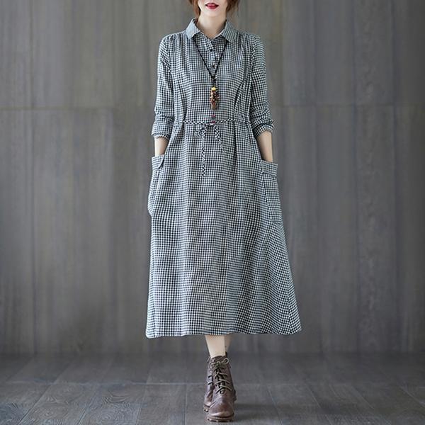 *ORead*韓版格子單排扣長袖襯衫連身裙(圖片色M~2XL)
