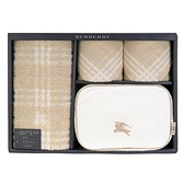 BURBERRY經典戰馬LOGO化妝盥洗包禮盒(四件組)(駝色)081547