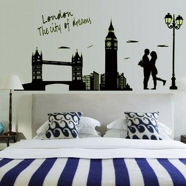 高級無痕環保夜光壁貼 倫敦60x90cm混款
