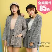 餅乾格紋西外+短褲套裝組-P-Rainbow【A6802D0】