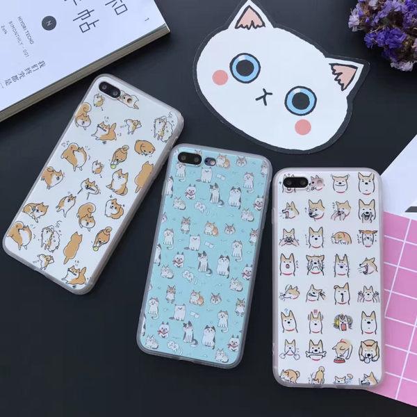 【紅荳屋】新款卡通貓咪柴犬蠶絲紋 蘋果iphone7/7plus/i7/i6s手機殼