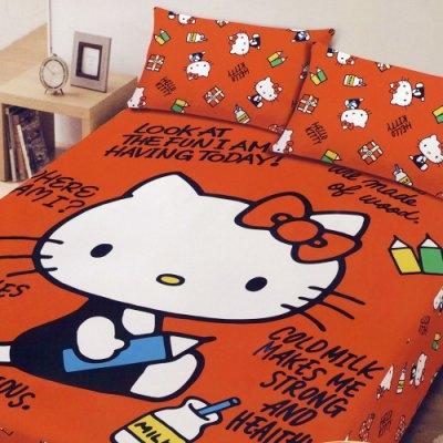 ☆Hello Kitty ☆凱蒂貓 搖粒絨刷毛雙人加大床包三件組-我的筆記本 台灣製造 品質有保障