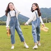 女童牛仔吊帶褲兒童秋裝小女孩長褲洋氣春秋季2020新款中大童褲子 【夏日新品】