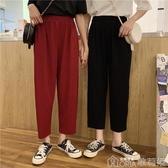 夏季韓版褲子寬鬆九分褲高腰顯瘦直筒褲女奶奶褲休閒褲墜感寬管褲 歌莉婭