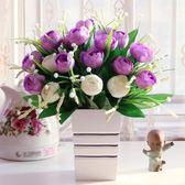 木盒花瓶仿真花假花玫瑰花套裝 隔板餐桌家居裝飾品 新房婚房擺設YDL