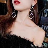 歐美時髦誇張幾何鋯石大耳環925銀針耳釘個性潮人氣質長款耳墜女 晴天時尚館