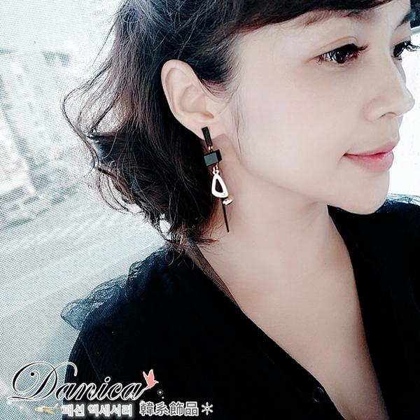 耳環 現貨 韓國 氣質 甜美 潮風 黑色 簡約 仿古 幾何 吊飾 長耳環 S92043 Danica 韓系飾品