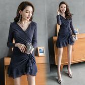 VK精品服飾 韓系氣質修身顯瘦亮片彈力抽繩針織長袖洋裝
