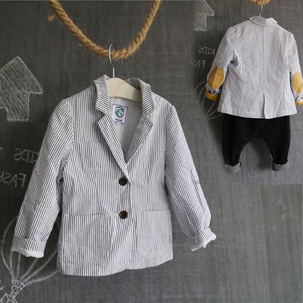 棉質條紋休閒西裝外套 橘魔法 現貨 童裝 兒童 婚禮西裝  男童 全家福攝影