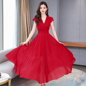 連身裙中大尺碼波西米亞M-4XL流行沙灘裙子紅色雪紡連衣裙女長款修身顯瘦長裙超仙NC22-C310.1號公館