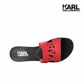 【KARL LAGERFELD】SKOOT KARL鏤空真皮拖鞋-紅