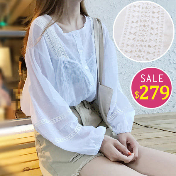 BOBO小中大尺碼【9065】棉麻蕾絲燈籠袖前短後長襯衫
