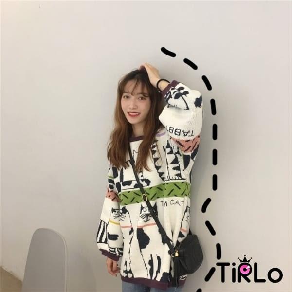 針織衫-Tirlo-日系滿滿貓咪針織衫-一色