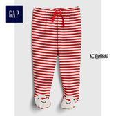 Gap女嬰兒 舒適條紋繫帶連腳針織褲 399998-  紅色條紋
