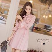 東京著衣【YOCO】微糖美人蝴蝶結綁帶荷葉袖洋裝-S.M.L(172167)