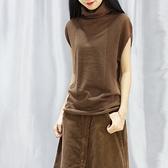 新款女套頭無袖針織衫薄款短袖打底衫堆堆領高領毛衣上衣寬鬆外搭 母親節禮物
