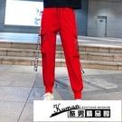工裝褲 893#工裝褲男女同款顯瘦高腰束腳寬鬆大碼黑色運動休閒長褲子 酷男