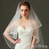 明星雙層新娘結婚簡約韓式包邊頭紗遮面帶髮梳新款旅拍緞面婚紗 晴天時尚館