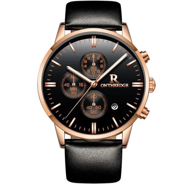 【新飾界】男士手錶真皮帶超薄防水商務腕錶