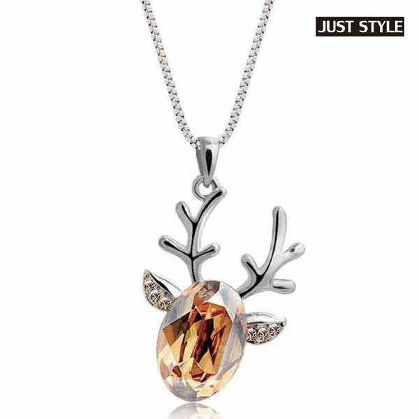 項鏈【JS精心苑】熱銷創意鑲鑽小鹿水晶項鍊/飾品/配飾/配件