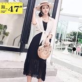連身裙--兩件式優雅細肩帶修身壓紋雪紡花邊V領短袖洋裝(黑.粉M-3L)-D520眼圈熊中大尺碼◎